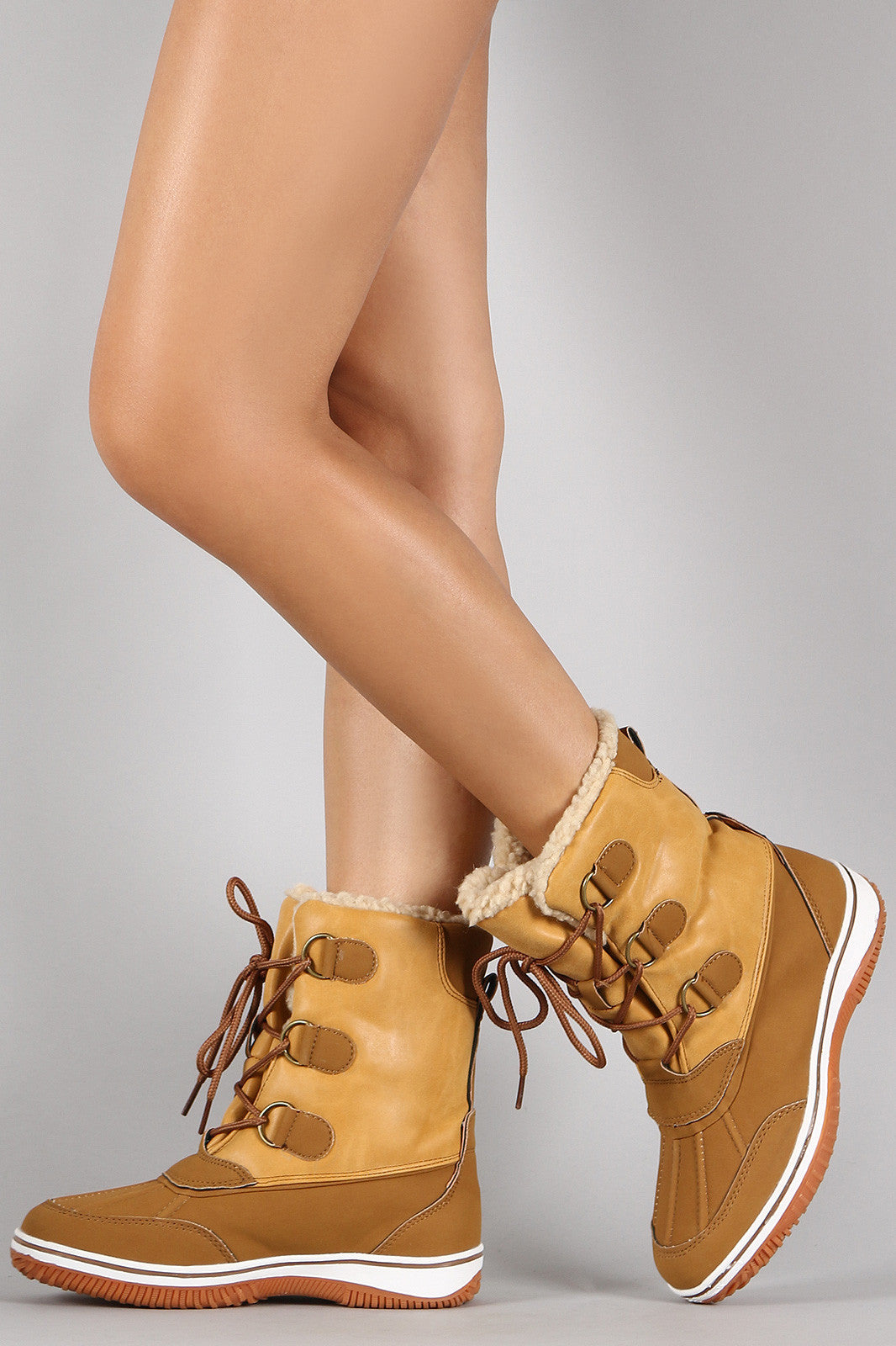 5300c8e2b832f ... Faux Shearling Round Toe Lace Up Duck Boots Shoes Mid Calf Booties ...