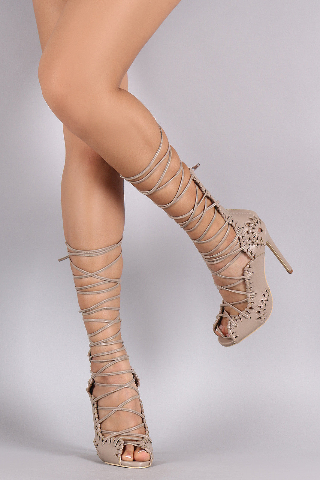 7face21c6e Privileged Intricate Cutout Corset Lace-Up Peep Toe Stiletto Heel Shoes  Open Heels ...