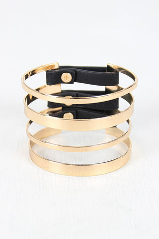 Banded Metallic And Vegan Leather Cuff Accessories Bracelets