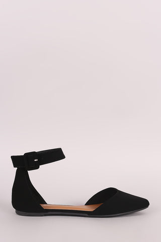 Bamboo Nubuck Pointy Toe Ankle Strap Flat