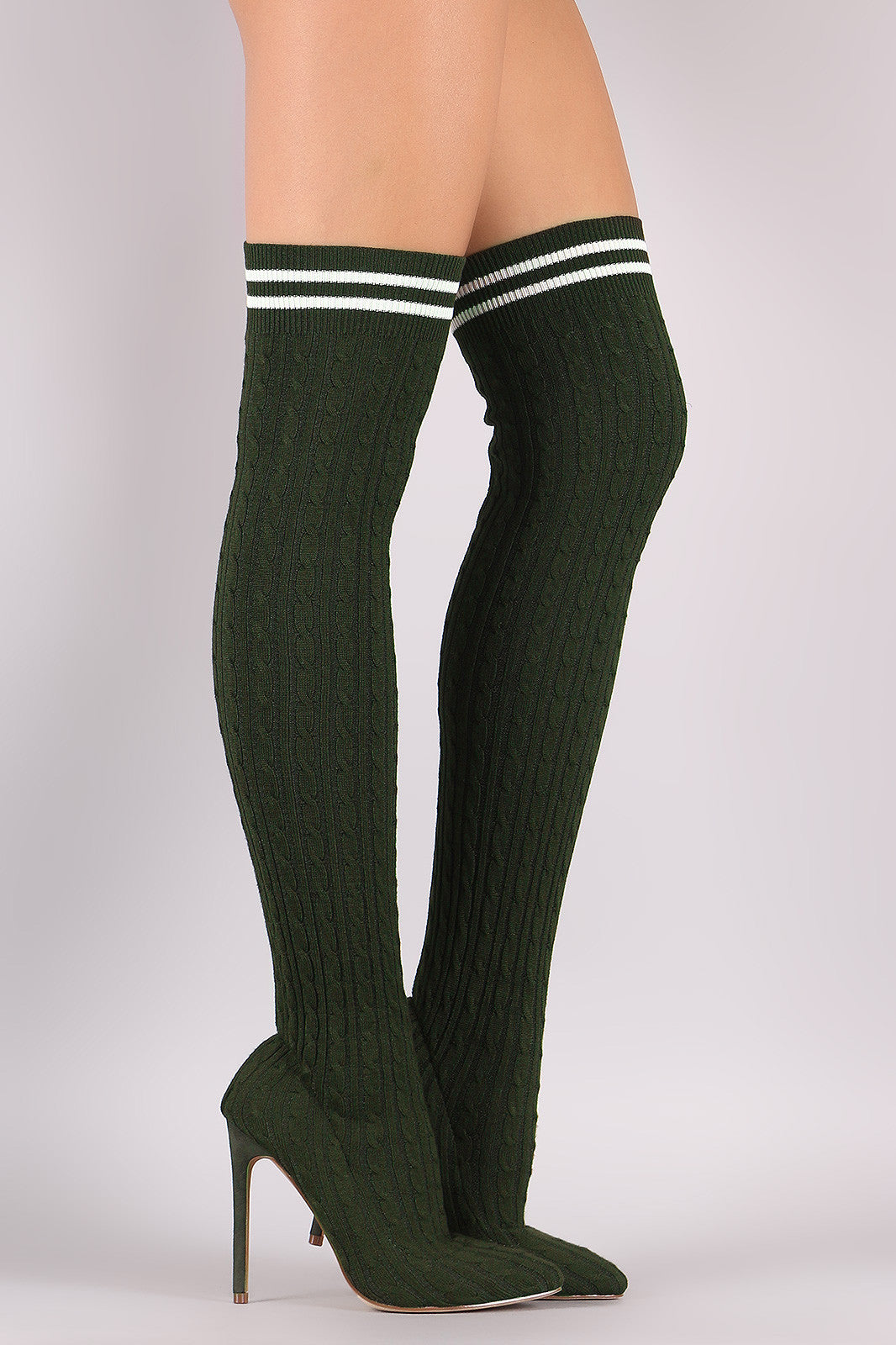 1dcd97ff493 Liliana Stretched Sweater Knit Stiletto Over-The-Knee Sock Boots Shoes Knee  High ...