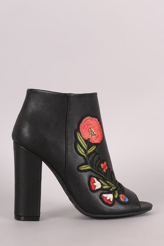 Bamboo Floral Patch Chunky Heeled Ankle Boots