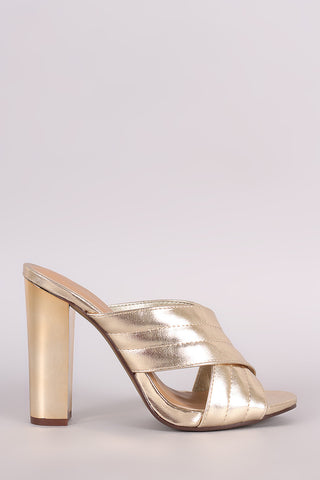 Bamboo Quilted Metallic Crisscross Chunky Mule Heel