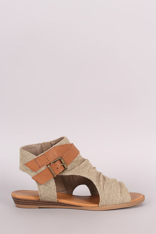 Soda Canvas Open Toe Buckled Strap Cutout Wedge Sandal