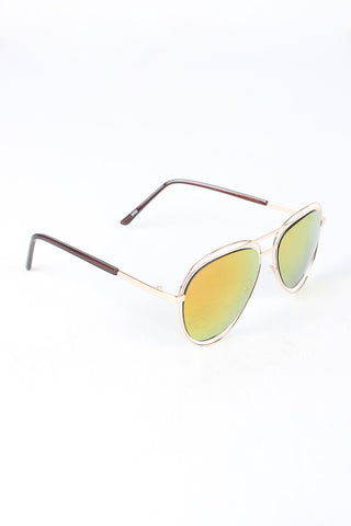 Avatar Open Wire Framed Mirror Lens Sunglasses Accessories