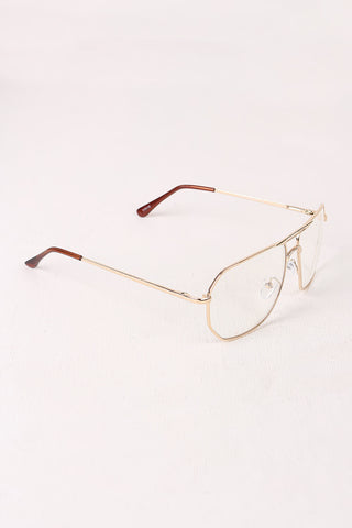 Clear Lens Geometric Aviator Glasses Accessories Sunglasses