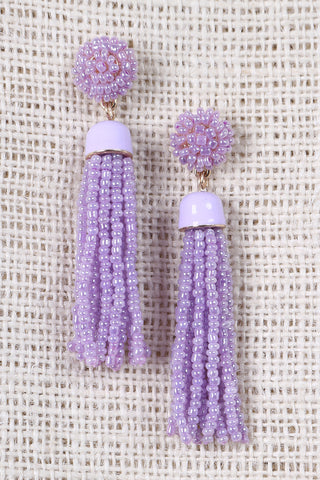 Beaded Cluster Tassel Dangle Earrings Accessories