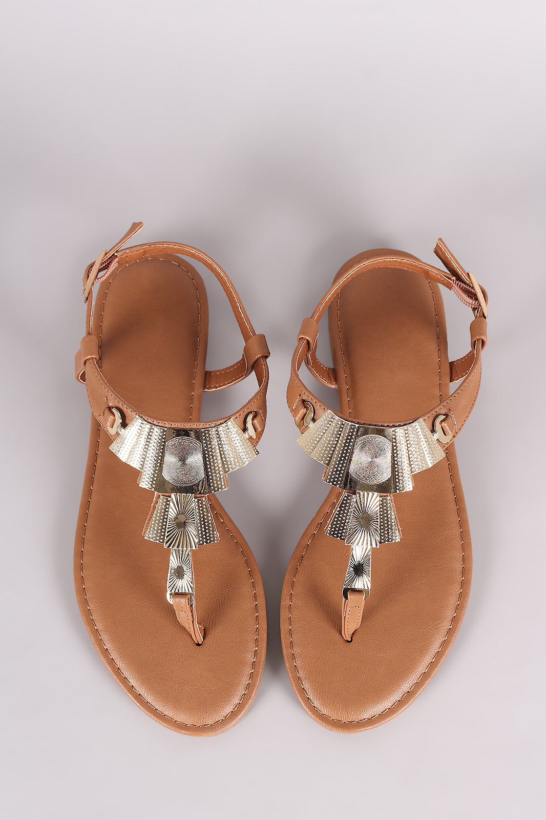 83a7c235d5a0f Bamboo Textured Hardware T-Strap Thong Flat Sandal Shoes Sandals ...