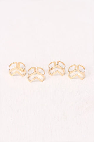 Cutout Chevron Ring Set Accessories Rings