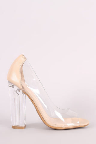 Bamboo Transparent Chunky Clear Heeled Pump Shoes Pumps