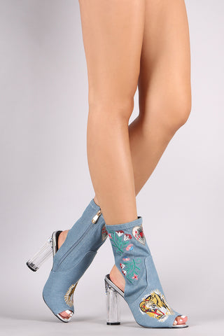 Denim Embroidery Chunky Clear Heeled Booties Shoes
