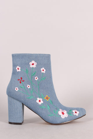 Denim Embroidered Floral Vines Chunky Heeled Booties Shoes