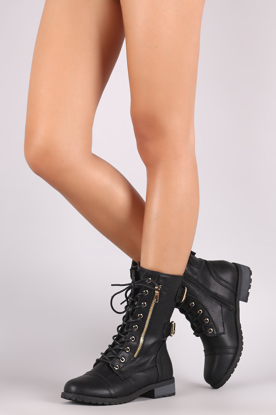 Buckle And Zipper Accent Combat Lace Up