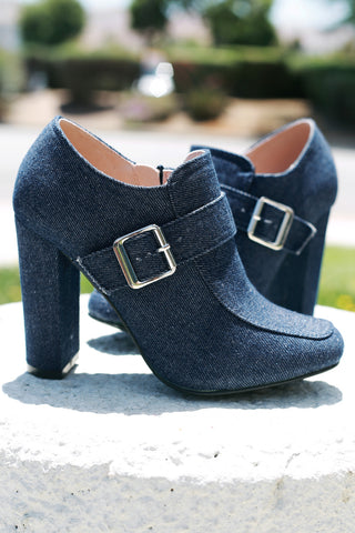 Buckle Accent Denim Chunky Heeled Booties Shoes