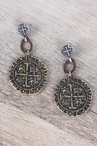 Ancient Etched Coin Earrings Accessories