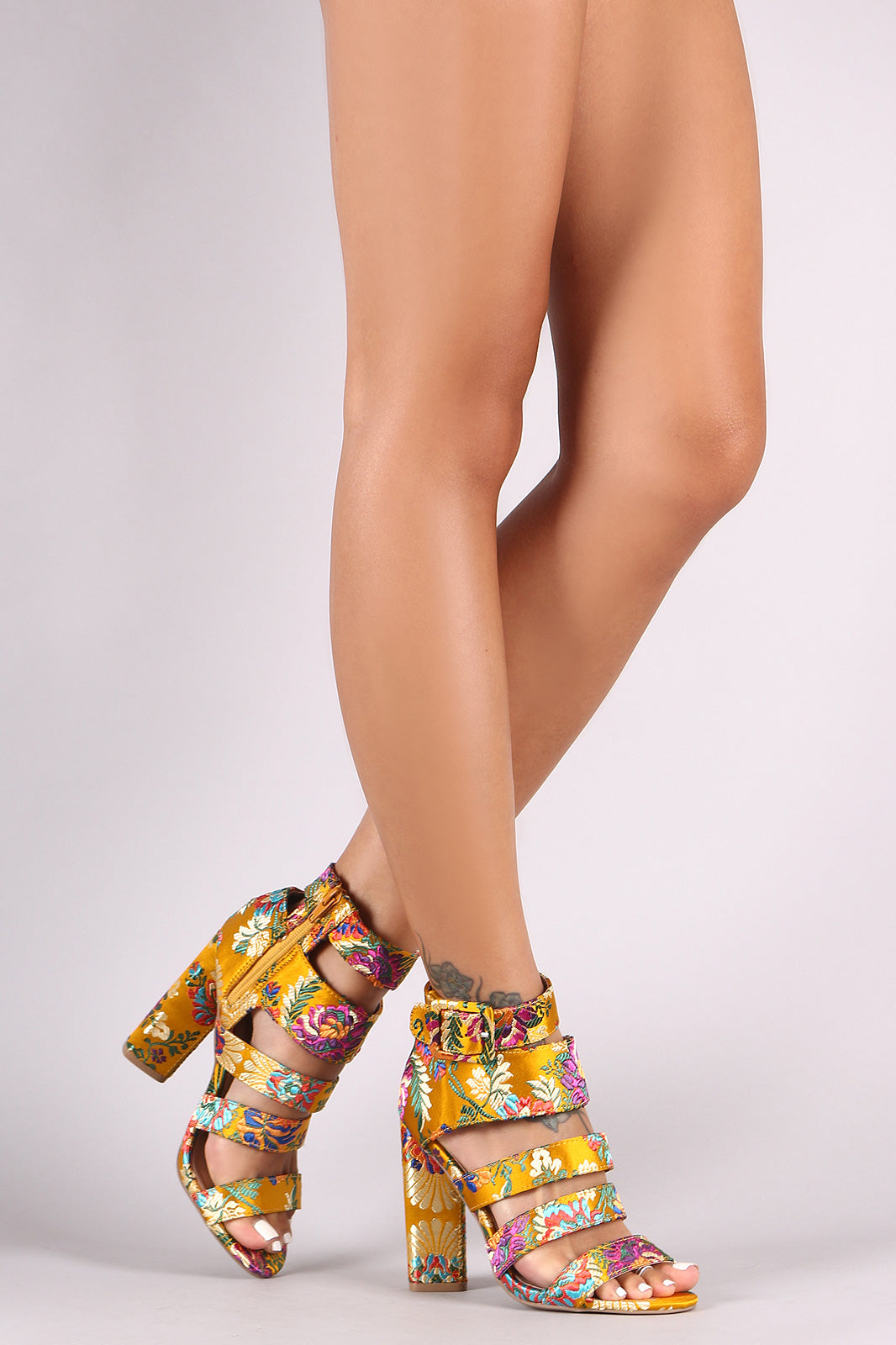 ba8ed26ce78 ... Qupid Floral Brocade Caged Chunky Heel Shoes Heels ...