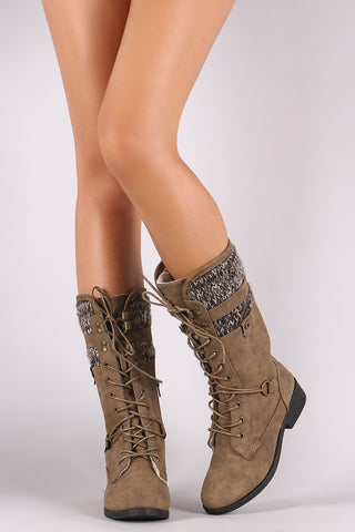 Qupid Shearling Cuff Combat Lace Up Boots Shoes Booties