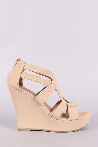 Nubuck Strappy Caged Platform Wedge