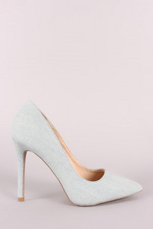 Qupid Denim Pointy Toe Stiletto Pump