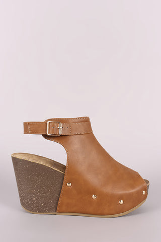 Peep Toe Studded Platform Mule Wedge