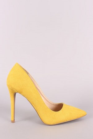 Qupid Vegan Suede Pointy Toe Stiletto Pump