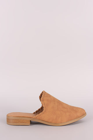 Qupid Nubuck Whipstitched Almond Toe Mule