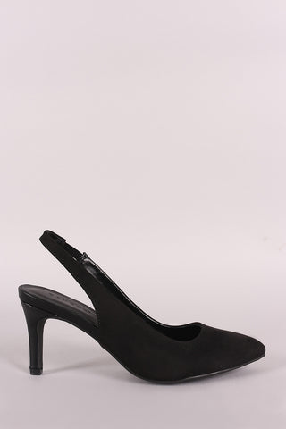 Bamboo Suede Pointy Toe Slingback Low Stiletto Heel