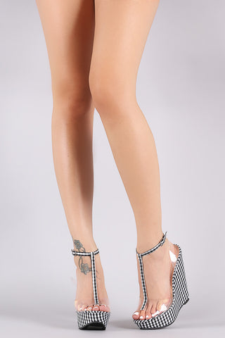 Gingham Print T-Strap Clear Band Platform Wedge