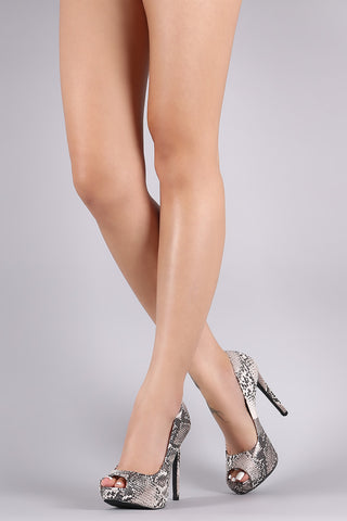 Qupid Python Print Peep Toe Stiletto Platform Pump
