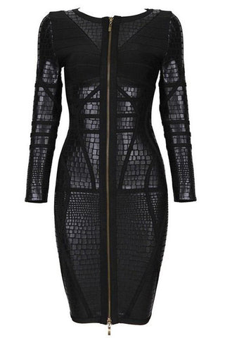 Gos Black Luxury Zipper Bandage Dress Dresses