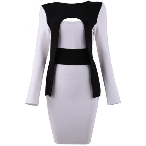 Black And White Hollow Bandage Dress