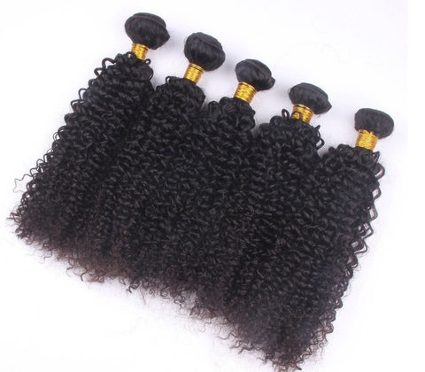 Curly - 100% Virgin Hair 12 / Kinky #1B Natural Black Extensions