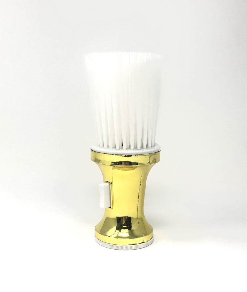 Gold neck duster medium bristles with powder dispenser