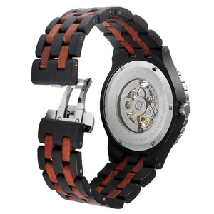 Men - Accessories - Watches - Men's Self-Winding Transparent Body Ebony Rosewood Watch