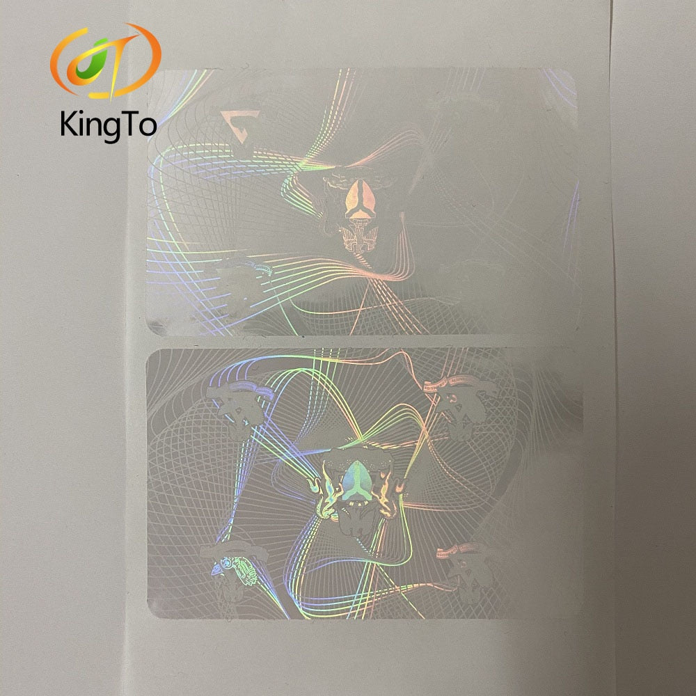 86*54mm Clear Transparent Custom Adhesive Hologram Overlay Sticker for ID Cards