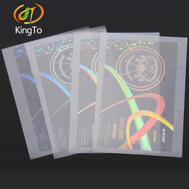 anti-fake/anti-counterfeit transparent laser hologram overlay sticker for certificates