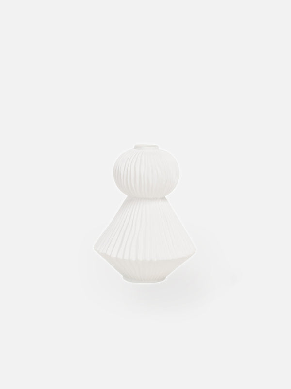 Pleated Two Tier Round Vase - White