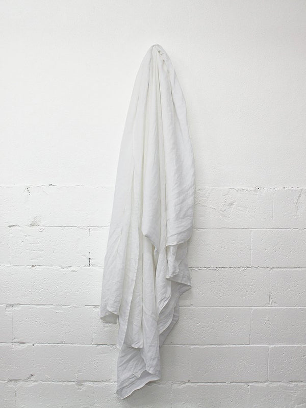 Linen Flat Sheet - French White