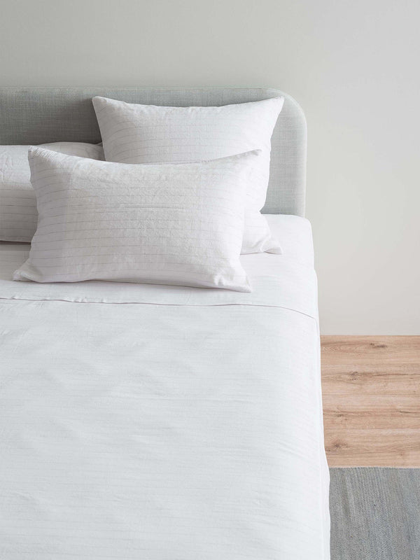 Linea Linen Cotton Pillowcase Pair - White/Ash