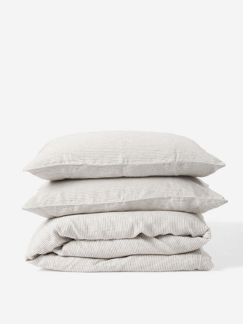 Stripe Linen Duvet Cover - Ash/Chalk