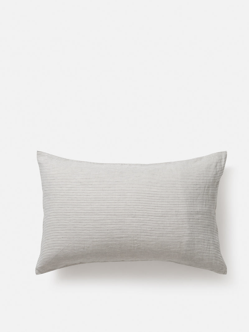 Stripe Linen Pillowcase Pair - Ash/Chalk