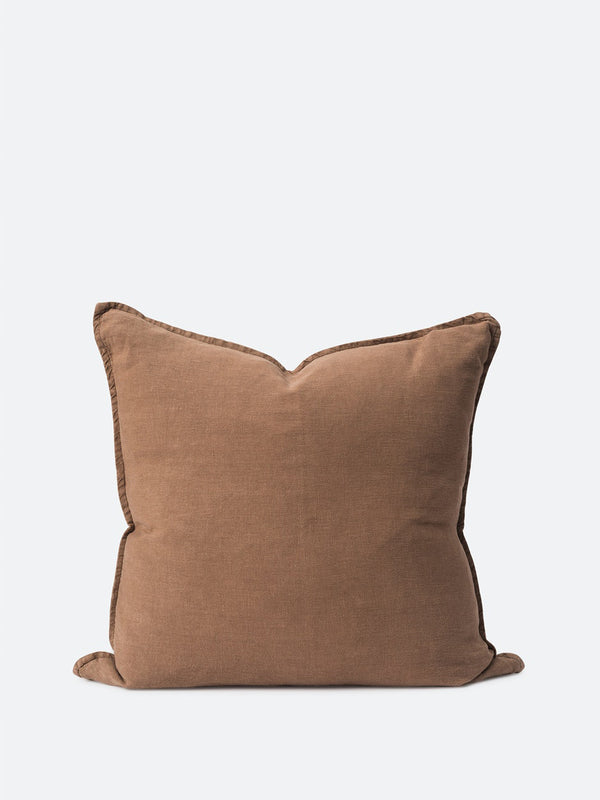 Washed Linen Cushion Cover - Tobacco