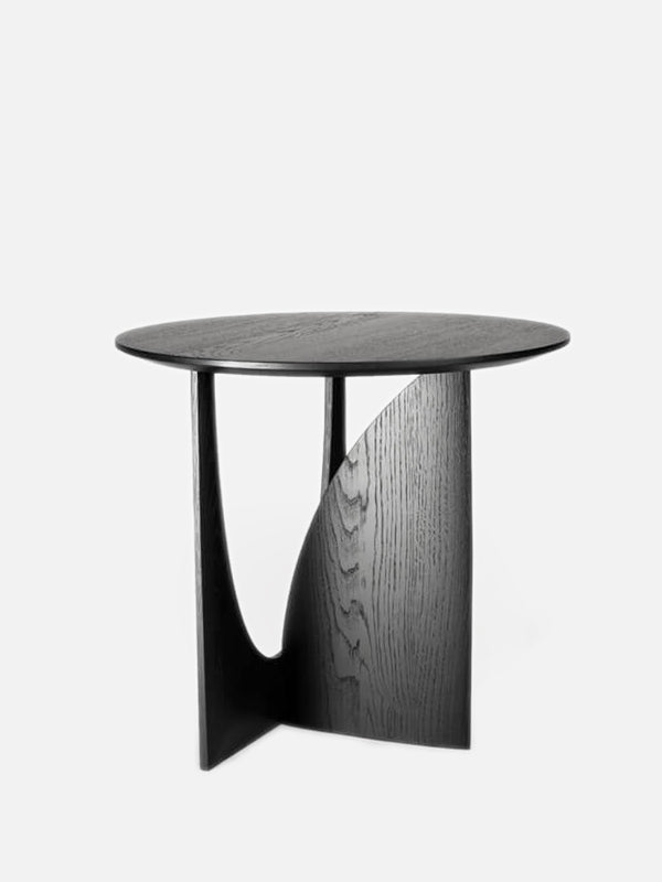 Oak Geometric Side Table - Black