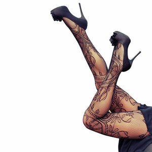 Women Sexy Ladies Black Stockings New Fashion Mesh Fishnet Lace Black Elastic Hold Up the Leg Hot Sale Stockings