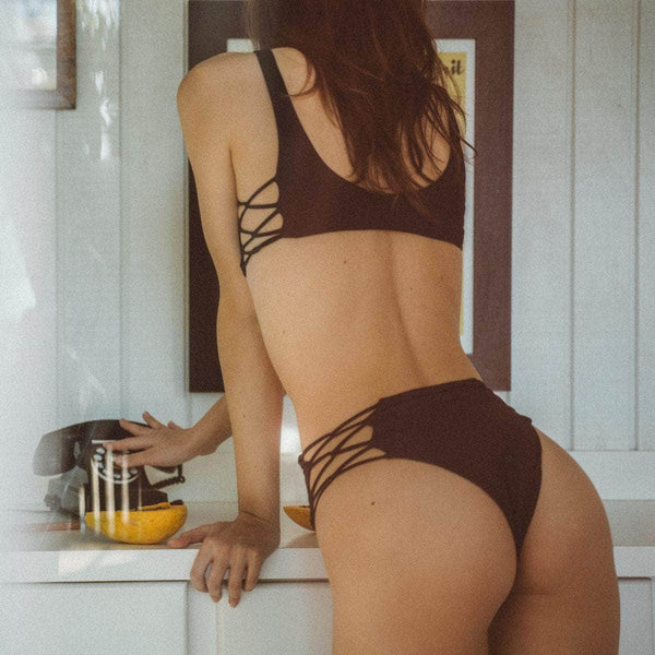 Grove Bikini Bottom in Black - the sea collective