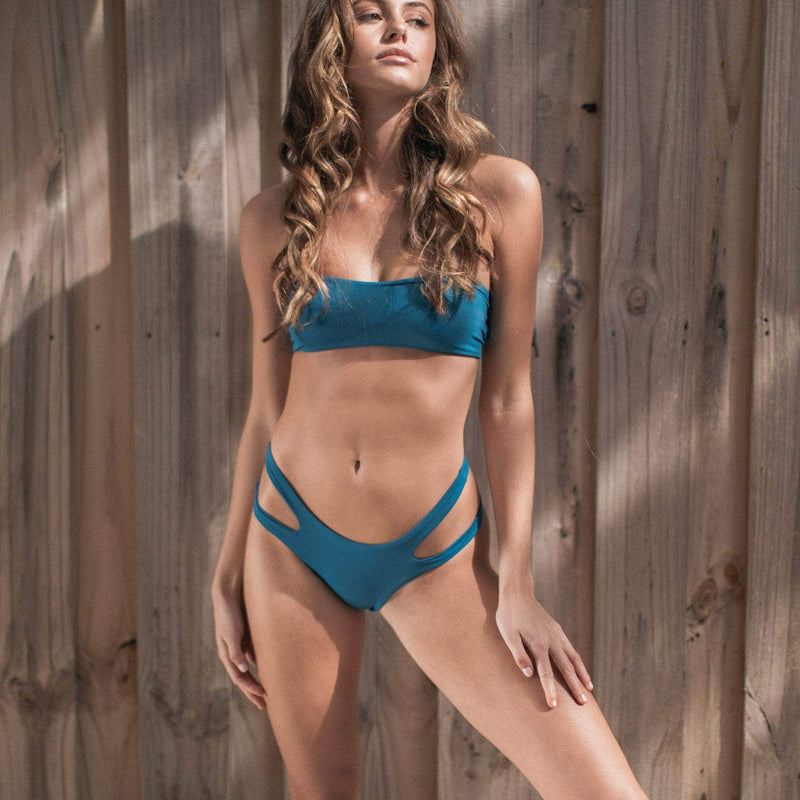 Ripped Bikini Bottom in Atlantic Blue - the sea collective