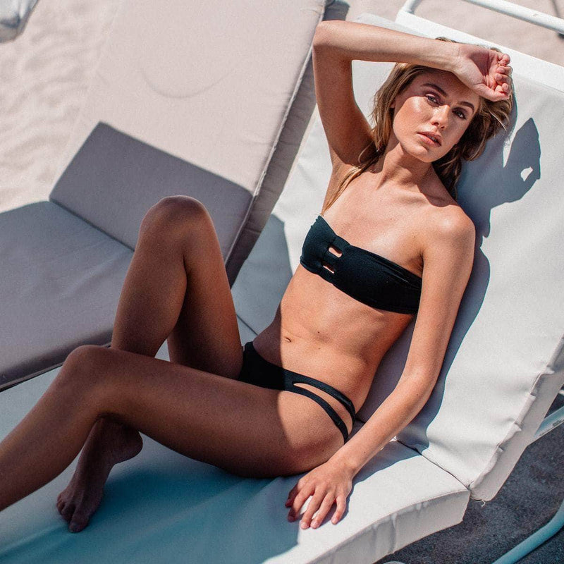 Ripped Bikini Bottom in Black - the sea collective