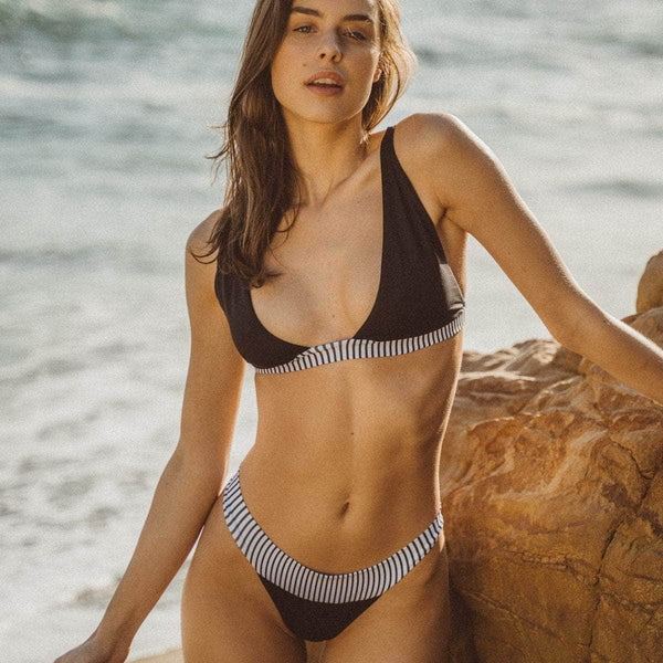 Springs Bikini Top in Black & Between Lines - the sea collective