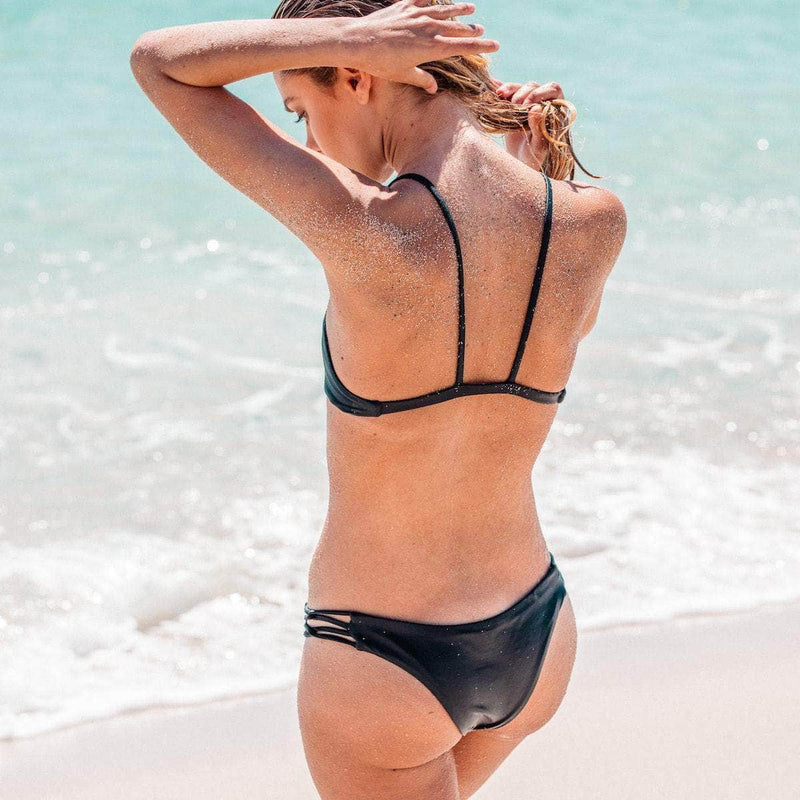 Tangled Bikini Bottom in Black - the sea collective