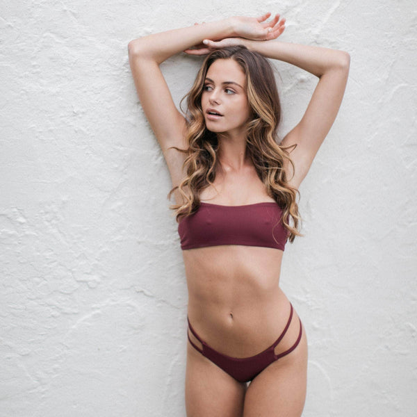 Tingle Bikini Bottom in Maroon - the sea collective
